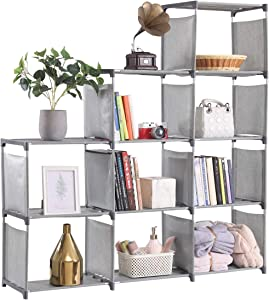 YCOCO 9 Cubes Bookshelf Office Storage Shelf Plastic Storage Cabinet,Multifunctional Non Woven Storage Rack,Grey