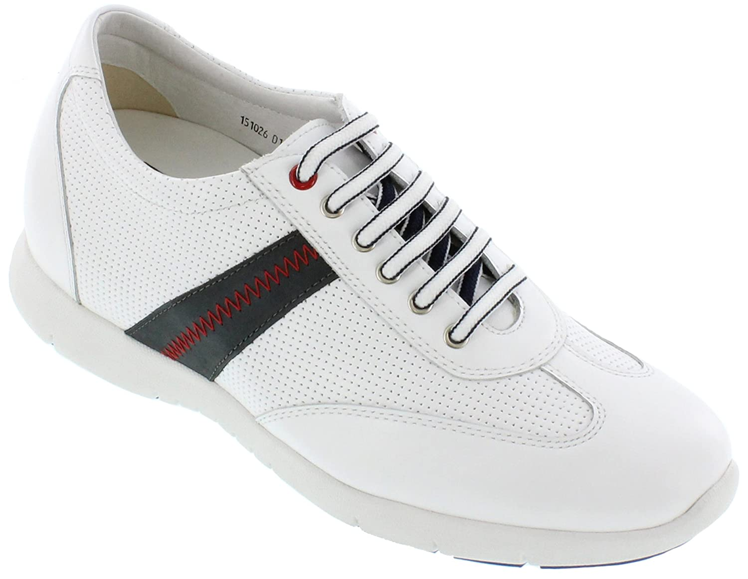 Toto D11032-2.8 inches Taller - Height Increasing Elevator Shoes - White Lace-up Casual Shoes