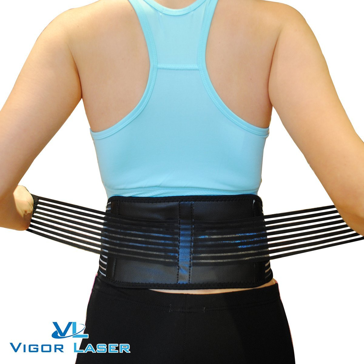 Stabilizing Lumbar Lower Back Brace Support Belt with Dual Adjustable Straps and Breathable Mesh Panels By Vigor Laser (32\