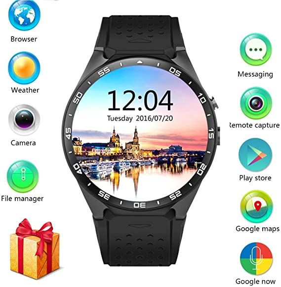LEMFO KW88 3G Smart watch, Android 5.1 OS, Quad Core support 2.0MP Camera Bluetooth SIM Card WiFi GPS Heart Rate Monitor, (Gray+Black)
