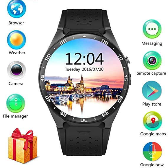 05c0bd0f7 Amazon.com: LEMFO KW88 3G Smart watch, Android 5.1 OS, Quad Core ...