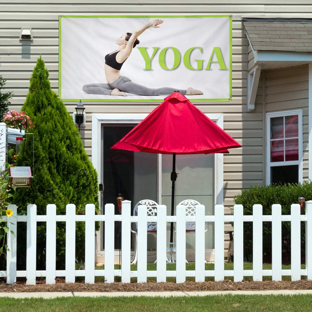 Vinyl Banner Sign Yoga Business Business Yoga Outdoor Marketing Advertising Grey Multiple Sizes Available 4 Grommets 28inx70in Set of 2