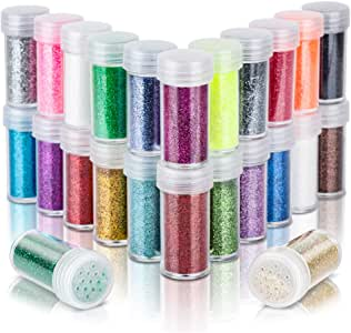 24 Colors Fine Glitter, LEOBRO 24 Jars Non-toxic Body Glitter Set, Ultra Sparkling Craft Glitter, Extra Fine Glitter for Cosmetic Body Face Hair Nail Art, Slime, Craft Projects