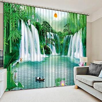 Chlwx Chinesische Vorhänge Wasserfall Natur Landschaft Vorhänge Für  Wohnzimmer Schlafzimmer Fenster Dekoration Vorhänge 240cmX300cm 2 Pieces
