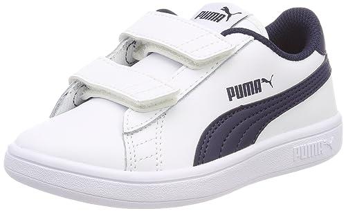 lowest price dde5e 1627c Puma Smash V2 L V PS, Sneakers Basses Mixte Enfant, Bleu White-Peacoat,