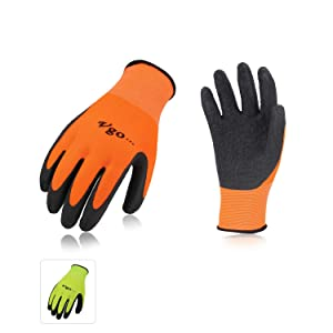 Vgo 6Pairs Latex Rubber Coated Gardening and Work Gloves(Size XL,High-Vis Green+Orange,RB6023)