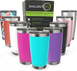 CHILLOUT LIFE 20 oz Stainless Steel Tumbler with Lid & Gift Box - Double Wall Vacuum Insulated Travel Coffee Mug with Splash Proof Slid Lid - Insulated Cup for Hot & Cold Drinks, Powder Coated Tumbler