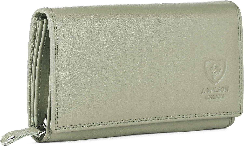 Portefeuille pour Femme en Cuir Nappa Souple de avec Protection RFID et Poche zipp/ée