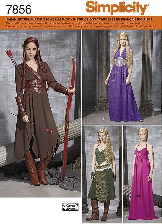 Burda Simplicity s7856.h5 patrón de Costura para Disfraz de Mujer ...