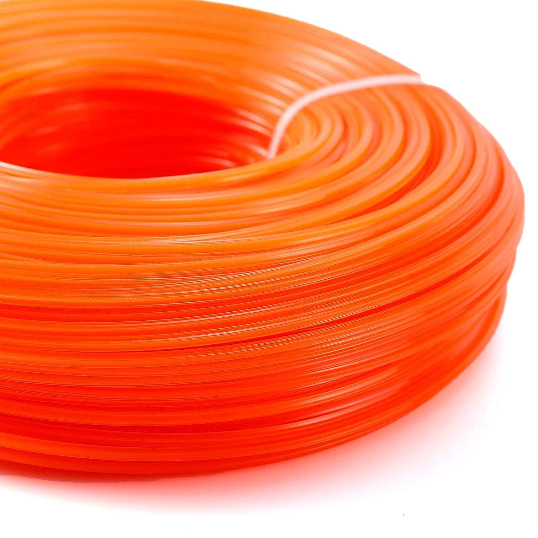 Anladia 100M Hilo de CortaCésped de Nilón Recambio de Segadora Tipos (2.4mm, Naranja)