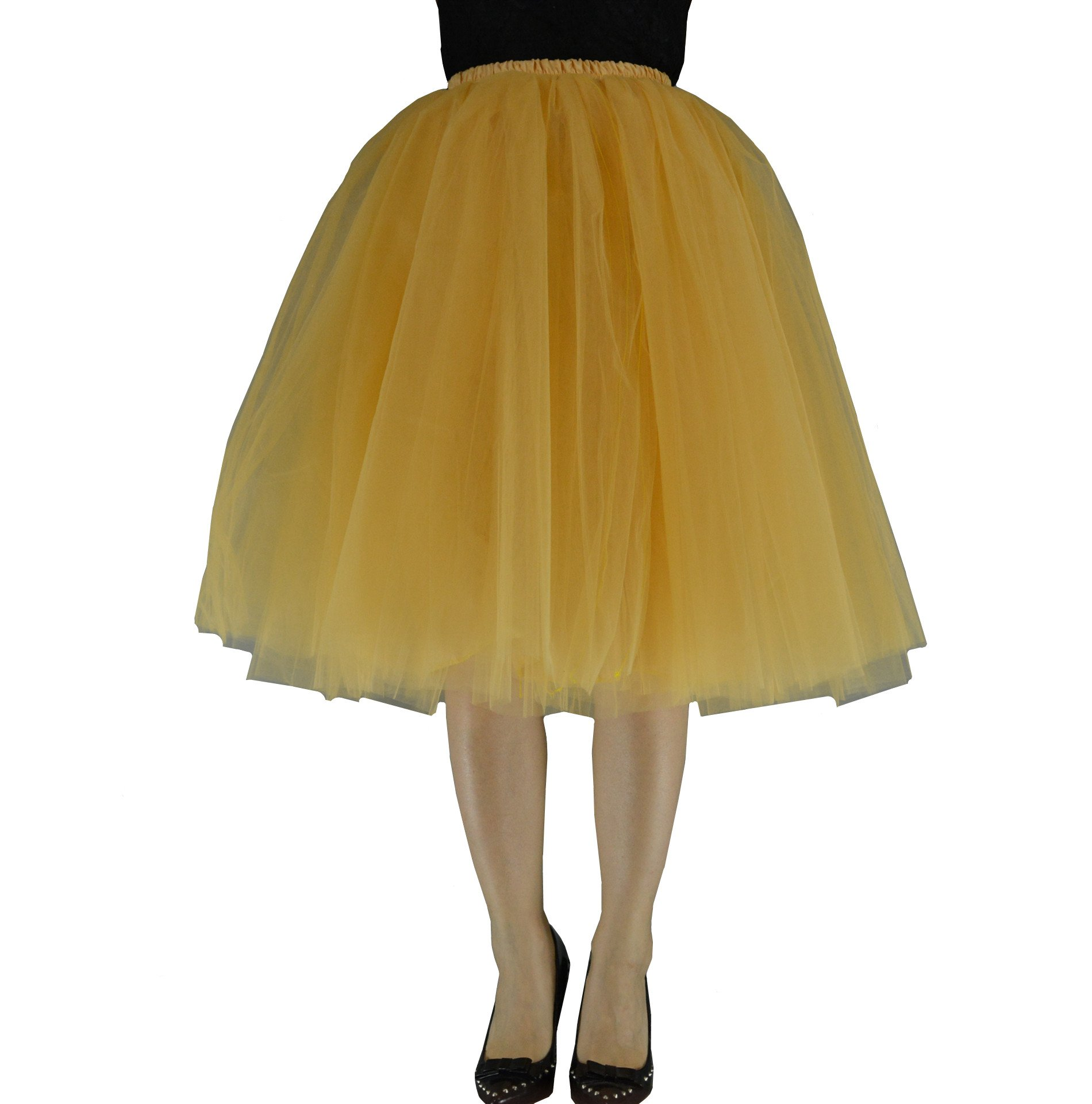 YSJERA Women's Layered Adult Tutu Tulle Midi/Knee Length A Line Prom Party Skirt Petticoat (XL, Champagne)