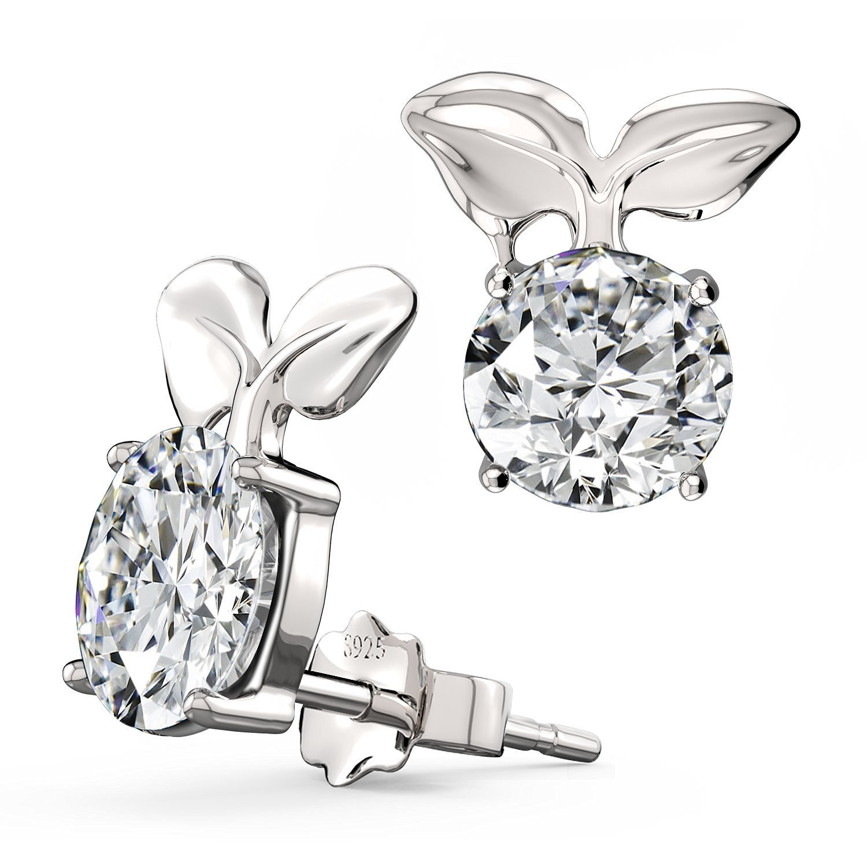 Feramox Sterling Silver Birthstone Earrings Round Cubic Zirconia Diamond Stud Earrings for Girls