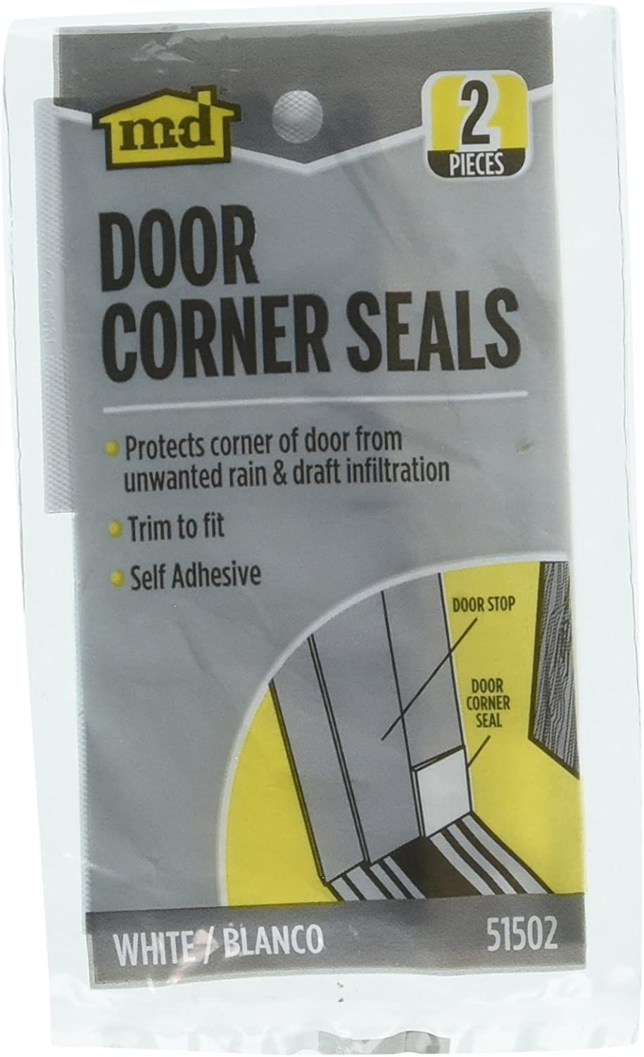 "New 51502 M-D 2pk WHITE DOOR WEATHERSTRIP FOAM CORNER SEALS DRAFT GAP 2/""X1-3//4/"""