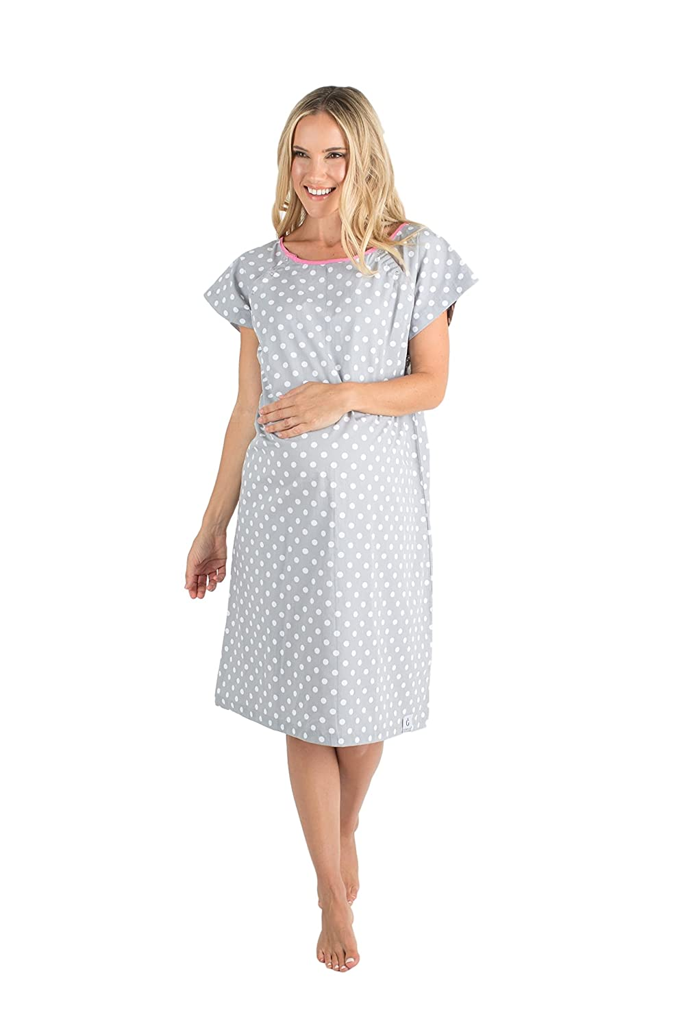 Gownie Lisa (Size 2-12)- Baby Be Mine Maternity  - Hospital Gown for Labour, Delivery & Birth - Hospital Bag Must Have/ Fantastic Baby Shower Gift - Gender Neutral Grey