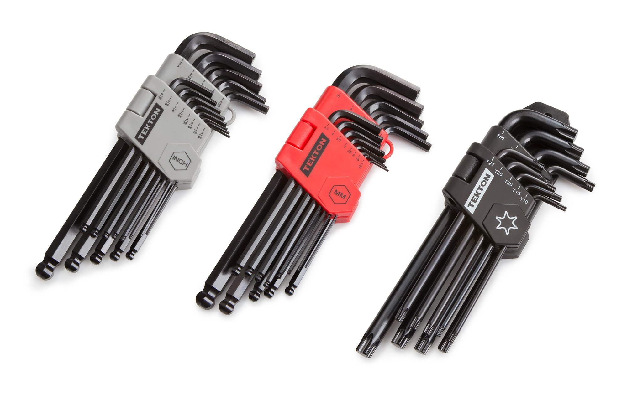 TEKTON 25282 Long Arm Ball End Hex Key Wrench Set, Inch/Metric with TEKTON 25291 Star Key Set