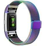 """Fitbit Charge 2 Bands, Simpeak Stainless Steel Replacement Metal Band Strap with Magnetic Closure Clasp for Fit bit Charge 2, Rainbow, Large, 6.7""""-9"""""""