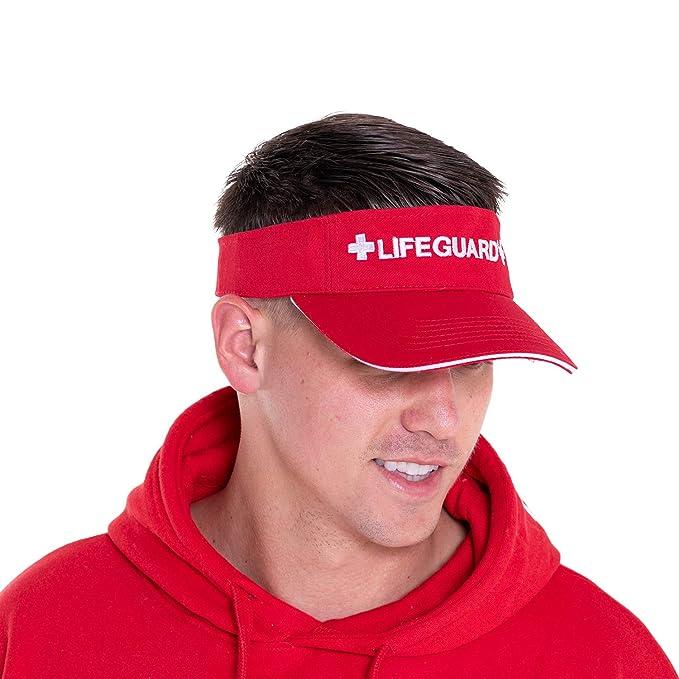 3d0e5b69 Amazon.com: LIFEGUARD Official Adjustable Visor (Red/White): Clothing
