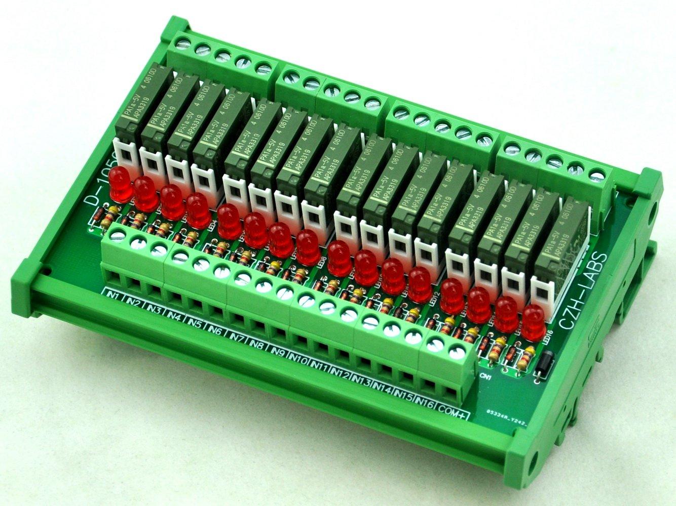 ELECTRONICS-SALON Slim DIN Rail Mount DC5V Sink/NPN 16 SPST-NO 5A Power Relay Module, PA1a-5V
