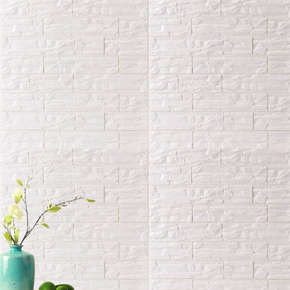 PE de Espuma de 3D Wallpaper DIY Pared Pegatinas Decoraci/ón de Pared en Relieve Piedra de ladrillo Para Casa Oficina 1 Pc, Amarillo WANWEITONG 3D Papel Pintado ladrillo