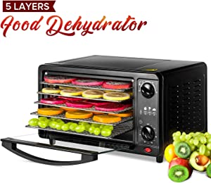Food Dehydrator, Professional Fruit Dehydrator with Adjustable Temperature Control and Timer, 360° Airflow Circulation Food Dryer Maintain Food Nutrition (5 Layers)