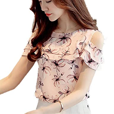 OUXIANGJU Women Summer Off Shoulder Shirts Print Floral Chiffon Ladies Casual Short Sleeve Blouse