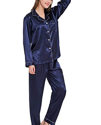 6a3917563d Tongzone Womens Long Sleeve Satin Pajamas Set Silky Pjs Set Sleepwear Blue