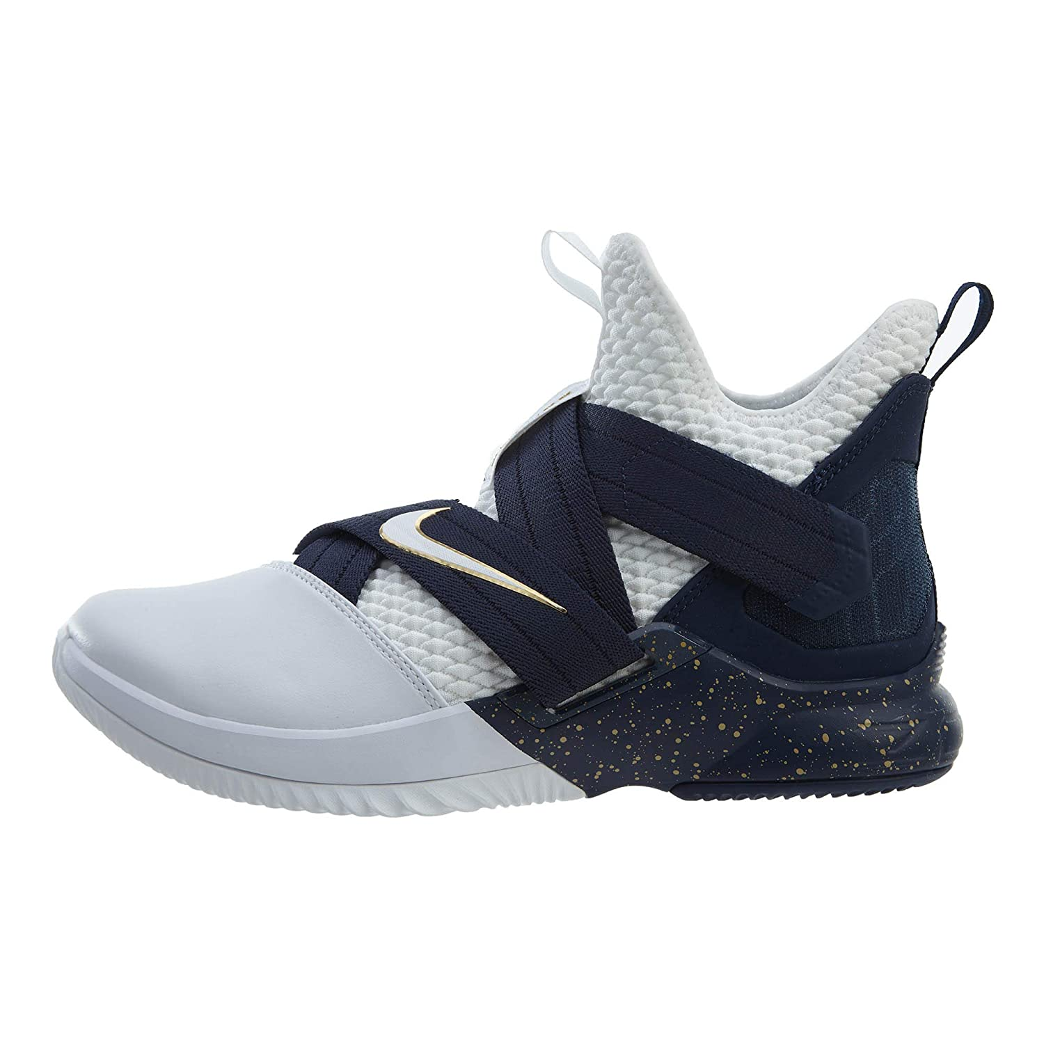 030a3449fdc87 Nike Lebron Soldier XII SFG Mens Basketball-Shoes AO4054-100_10.5 - White/ White-Midnight Navy-Mineral Yellow: Amazon.de: Schuhe & Handtaschen