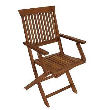 Set de jardín 1 mesa plegable 4 sillones plegables (madera ...