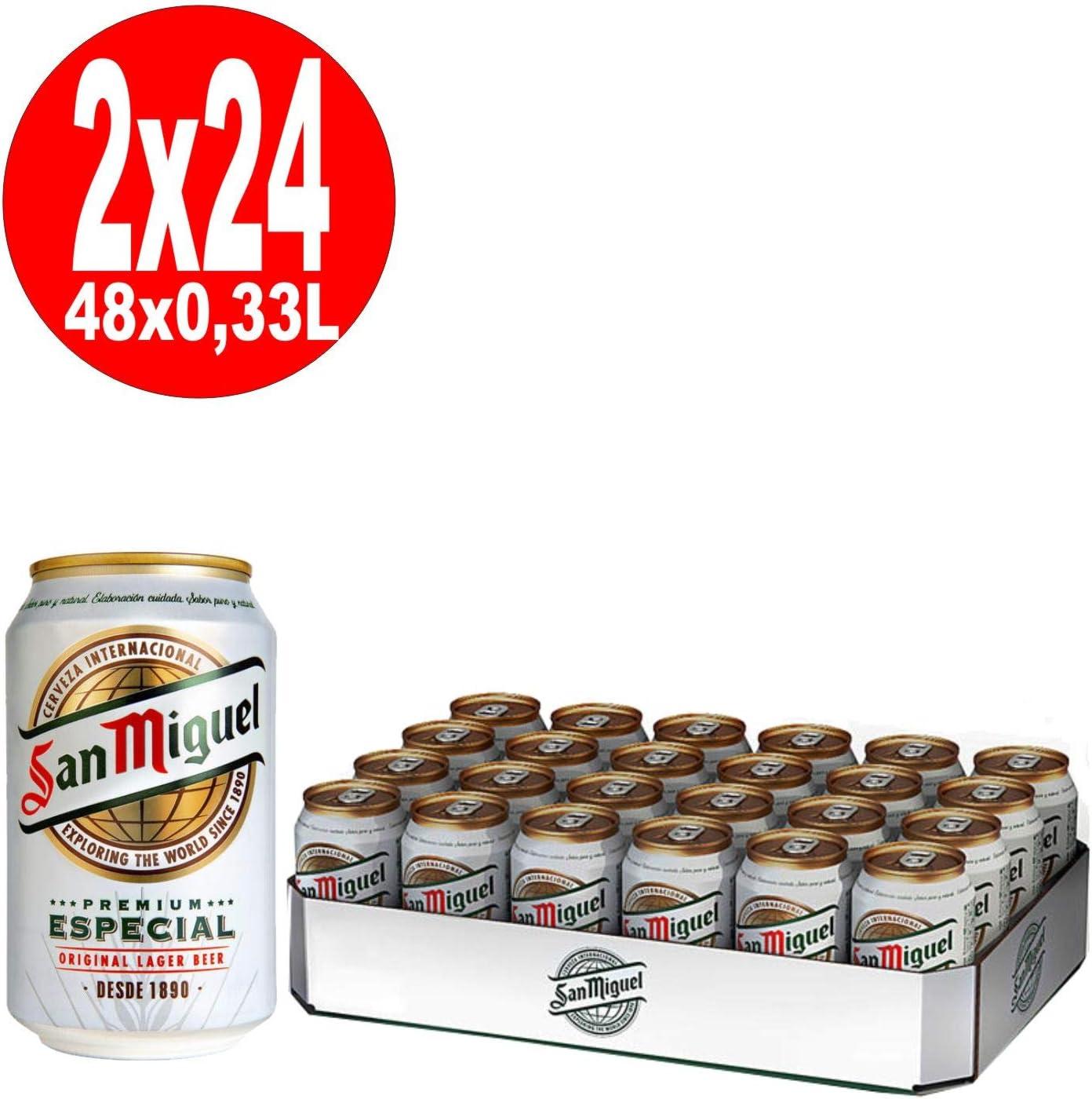 2 x 24 latas de 0,33 l. Lager especial de San Miguel, 5% vol. Depósito incluido, desechable.