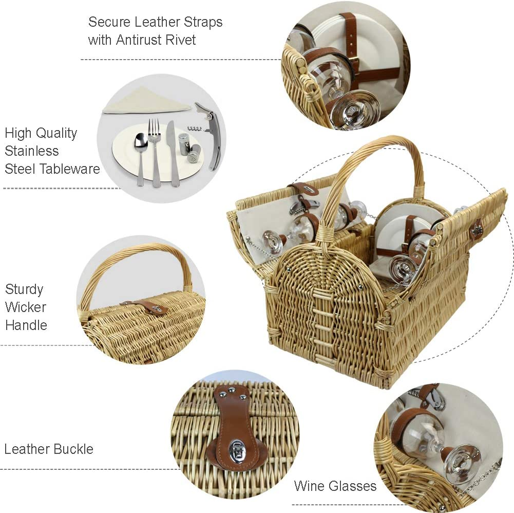 HappyPicnic 4 Person Wicker Picnic Basket with Double Lids and fix handle Picnic Gift Basket Woven cotton fabric Willow Picnic Hamper with Classic Part Liner Willow Picnic Set
