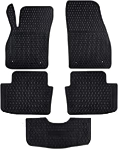 Ucaskin Car Floor Mats Custom Fit for Chevrolet Chevy Malibu 2020 2019 2018 2017 2016 2015 2014 2013 Odorless Washable Rubber Heavy Duty Anti-Slip All Weather Protection Car Floor Liner-Black