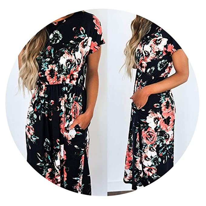 5ead5f48bb669 Image Unavailable. Image not available for. Color: earth radius Summer Long  Dress Floral Print Boho Beach ...