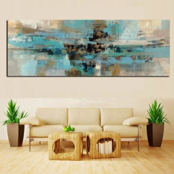 Xiaoxinyuan Toile Dimpression Hd Bleu Clair Peinture Abstrait