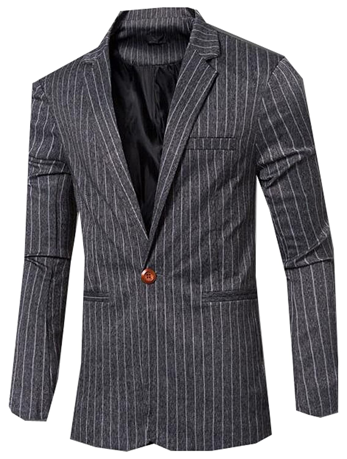 Generic Mens Fashion Slim Fit Lapel Stripe One Button Suit Jacket