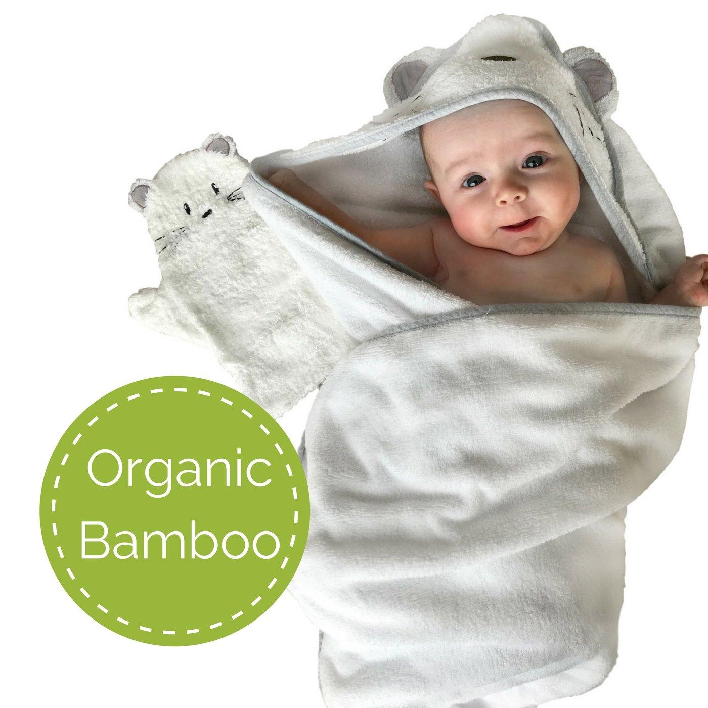 Tutti Bimbi Certified Bio-Zertifizierung Bambus Babyhandtuch mit Kapuze mit Waschhandschuh Set f/ür Neugeborene und Babywanne