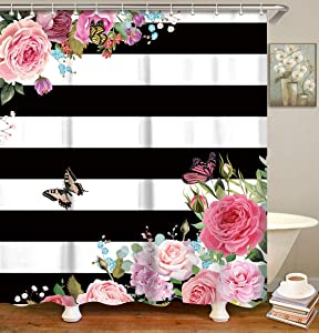 LIVILAN Striped Fabric Shower Curtain, Pink Floral Bathroom Curtains Set with Hooks Flower Butterfly Bathroom Decor 72x84 Inches Machine Washable