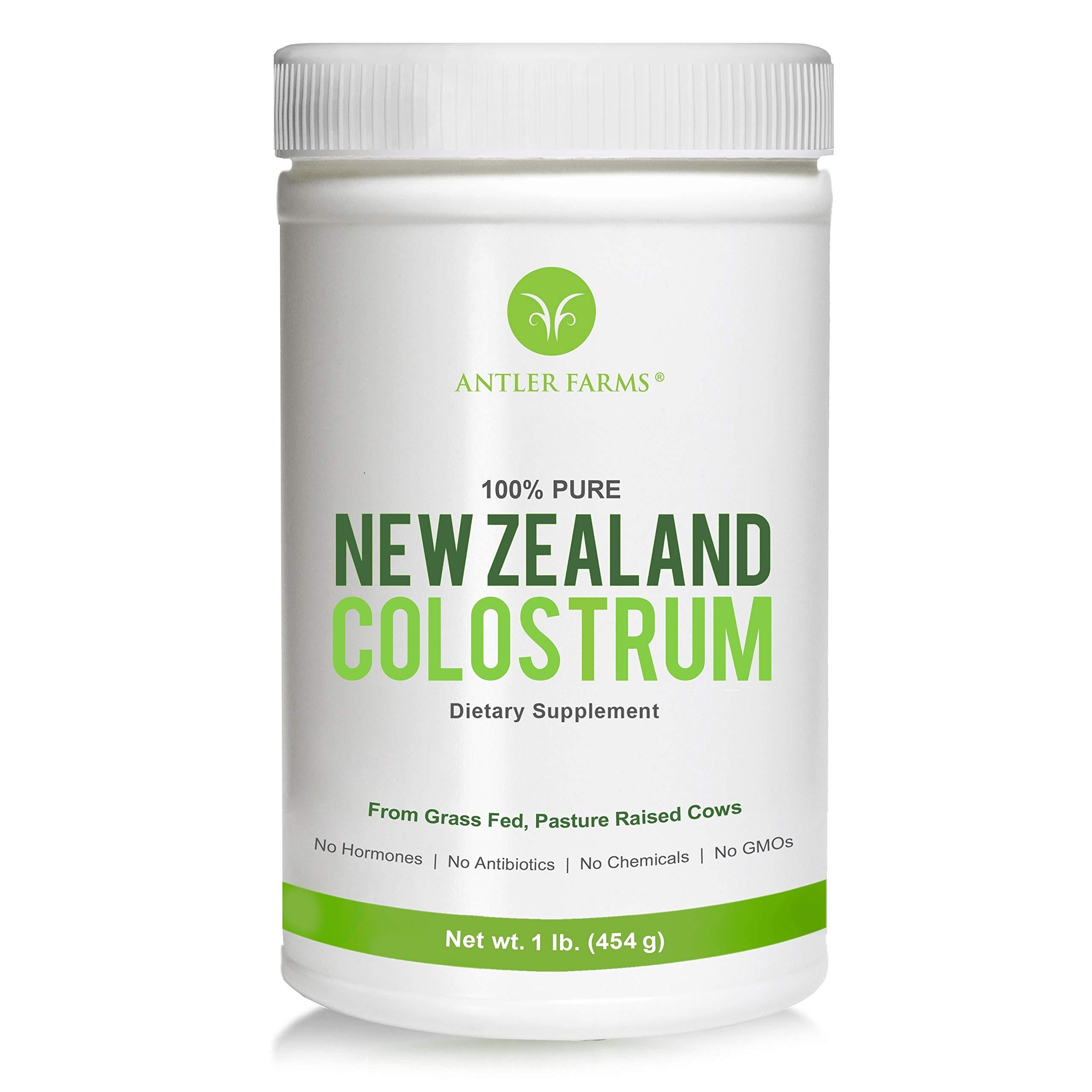Antler Farms 100% Pure New Zealand Colostrum, 30 Servings, 1 lb - Grass Fed, Pasture Raised, Clean Sourced, Cold Processed, NO Hormones, NO Antibiotics, NO Chemicals, NO GMOs