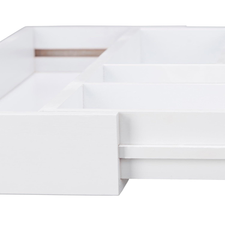 relaxdays Portaposate da Cassetto da 5 a 7 Scomparti in bamb/ù HxLxP: 5x48x46 cm Estraibile Larghezza Variabile Bianco