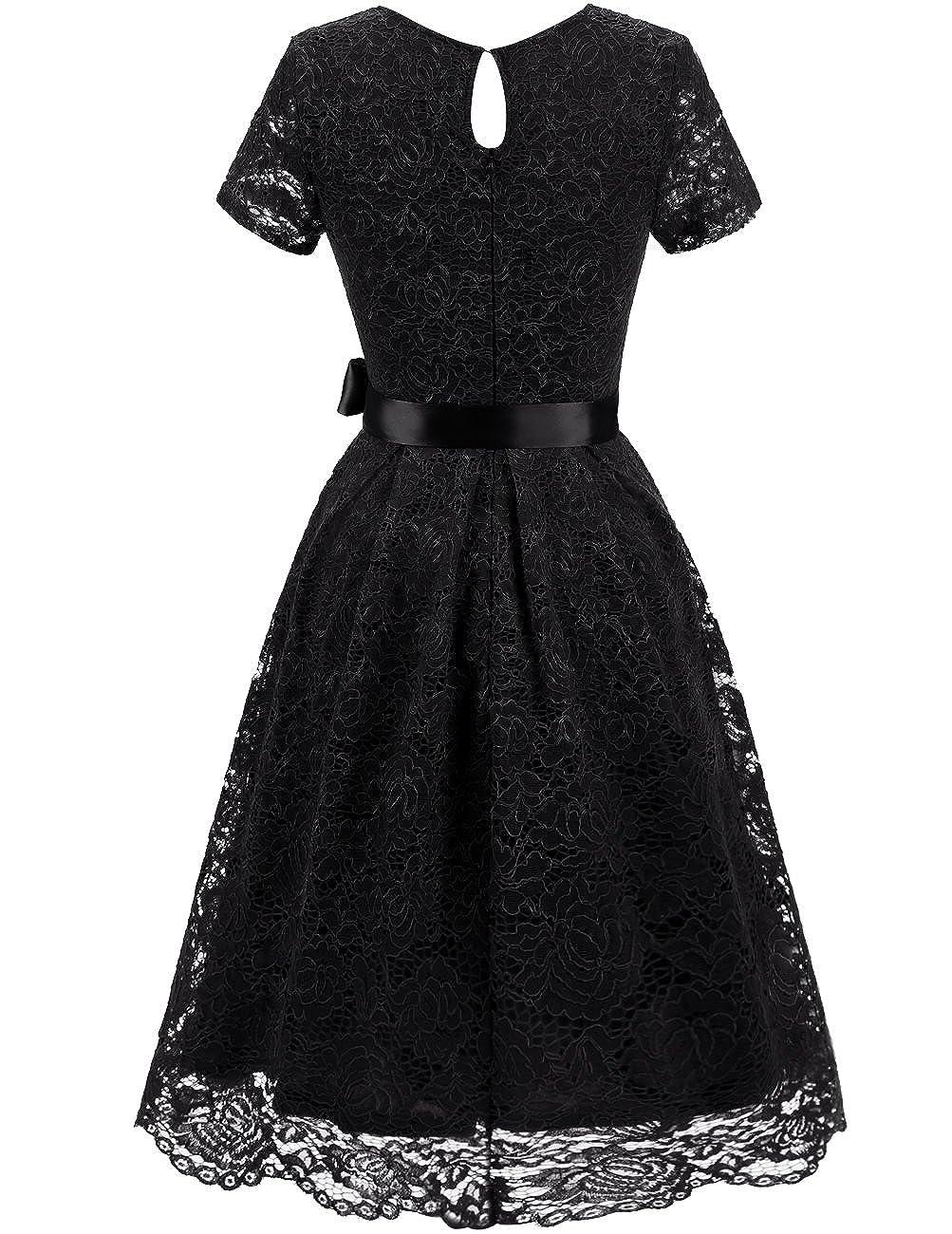 1774b6b3aa32a Amazon.com  Dresstells Women s Elegant Bridesmaid Dress Floral Lace Dresses  with Short Sleeves  Clothing