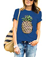 Weigou Women T Shirt Summer Pineapple Printed Short Sleeve Tops Funny T Shirt Girls Tees