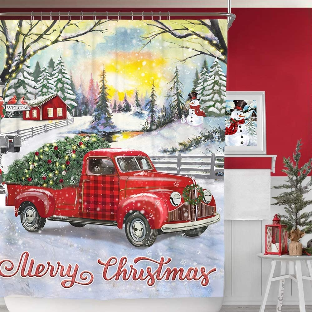 """Christmas Shower Curtain Retro Truck in Snow Shower 72/"""" X 72/"""" Red 22669"""