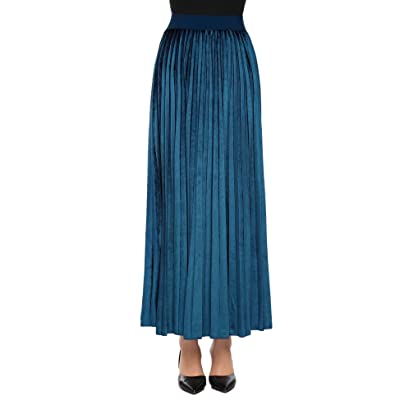 Adidome Women High Waist Solid Velvet Casual Maxi Long Pleated Skirt