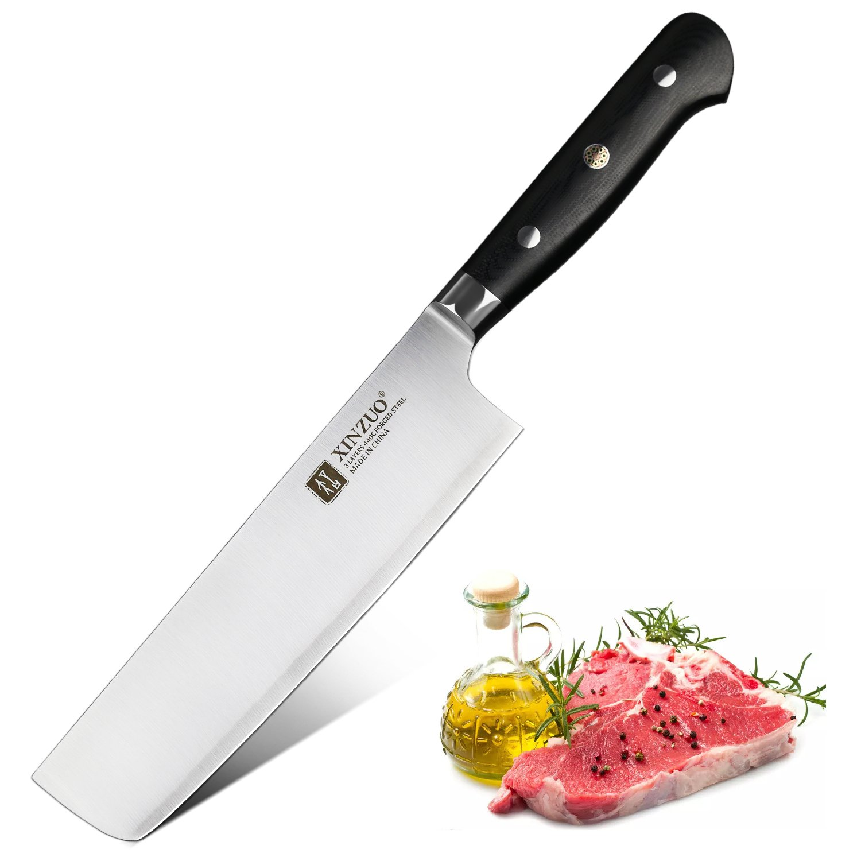 XINZUO Nakiri Knife 7 inch High Carbon 3 Layer 440C Clad Stainless Steel Kitchen Usuba Vegetable Knife Razor Sharp with G10 Handle - Yun Series