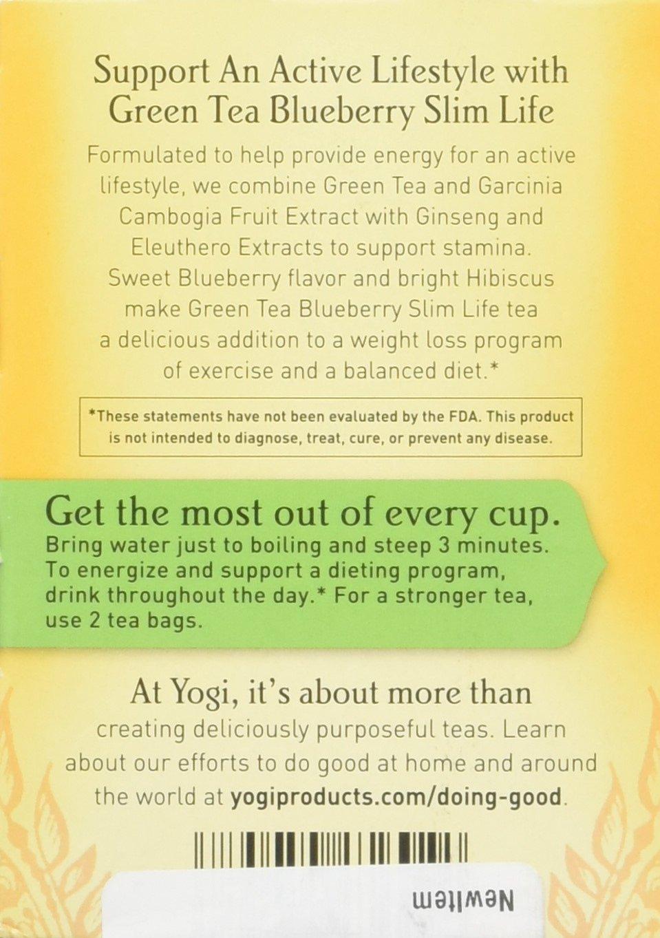 Amazon Com Yogi Green Tea Blueberry Slim Life 16 Tea Bags Health