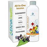 Eniva Elderberry Sambucus Immune Syrup, Vitamin C, Ionic ZINC, Vitamin D, Echinacea, Antioxidants & More, All-in-One Liquid,