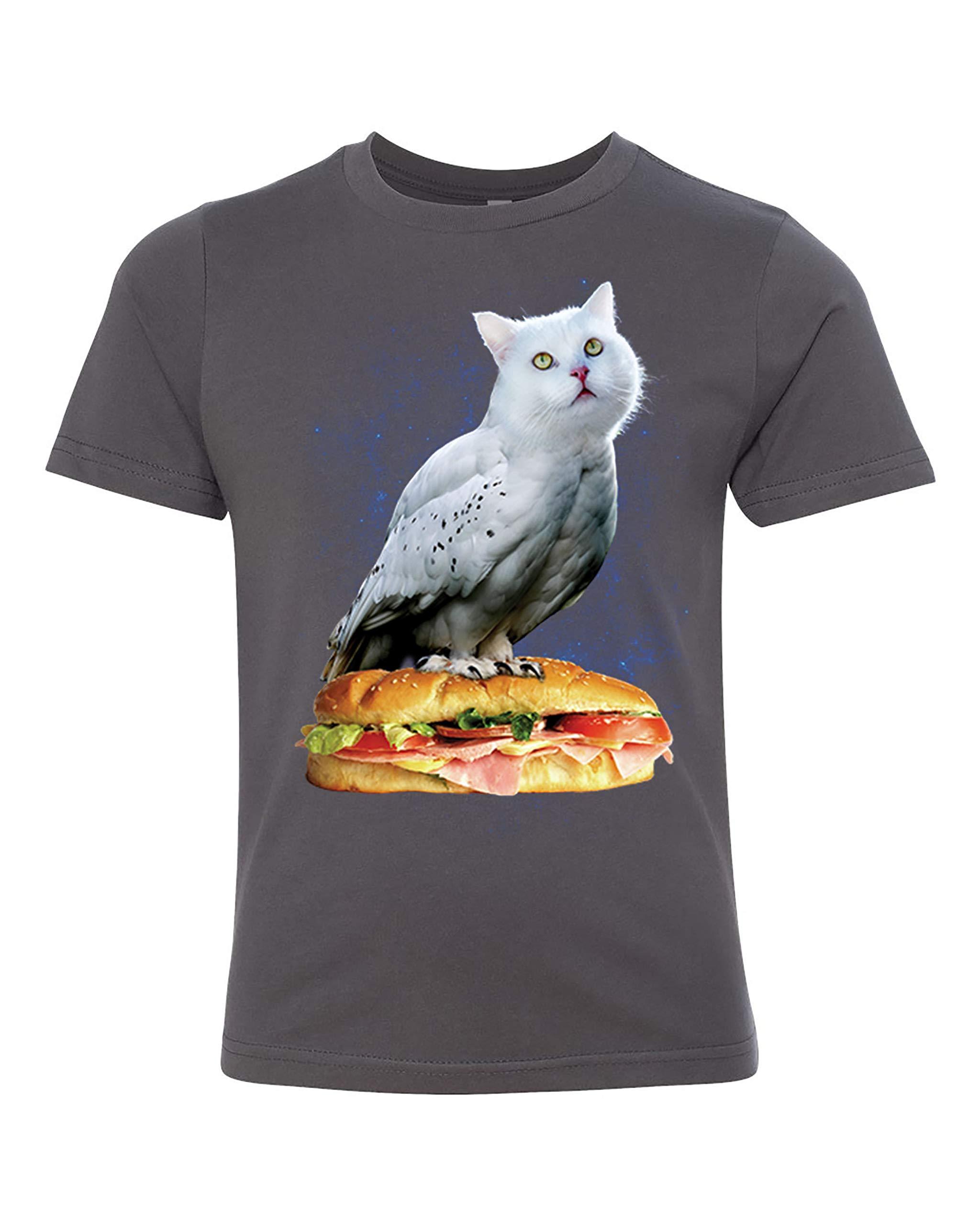 Funny Shirt Cat Owl Sub Sandwich Meowl Crew Neck T Shirt Novelty Unisex Shirts For