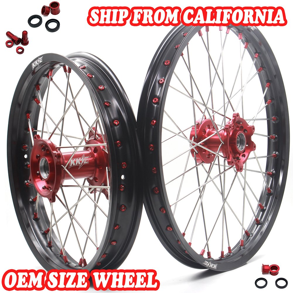 KKE Honda Enduro CNC Wheels Rims Set Kit 21/18 CR125R CR250R 19996-1999 CR500R 1996-2001 Red Hub & Nipple