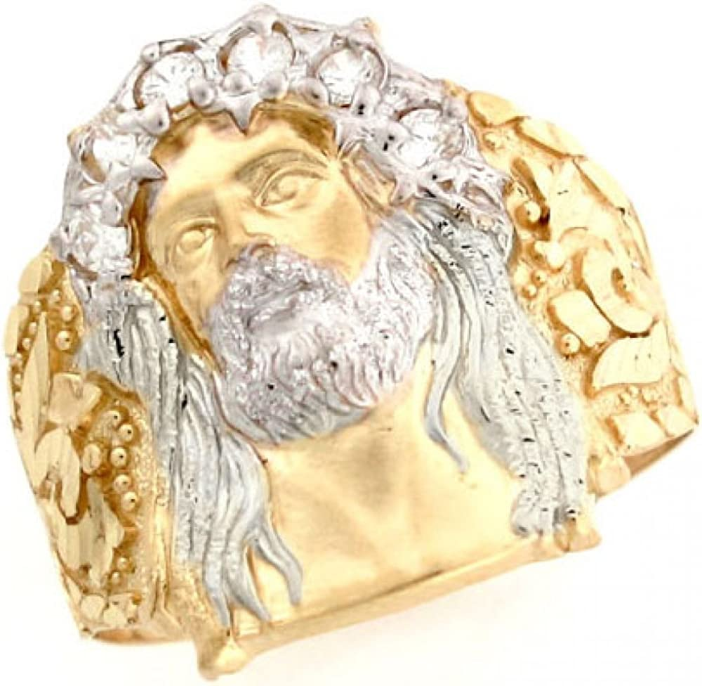 Jewelry Liquidation 10K zwei Tone Gold White Cz Jesus Religious Mens Ring