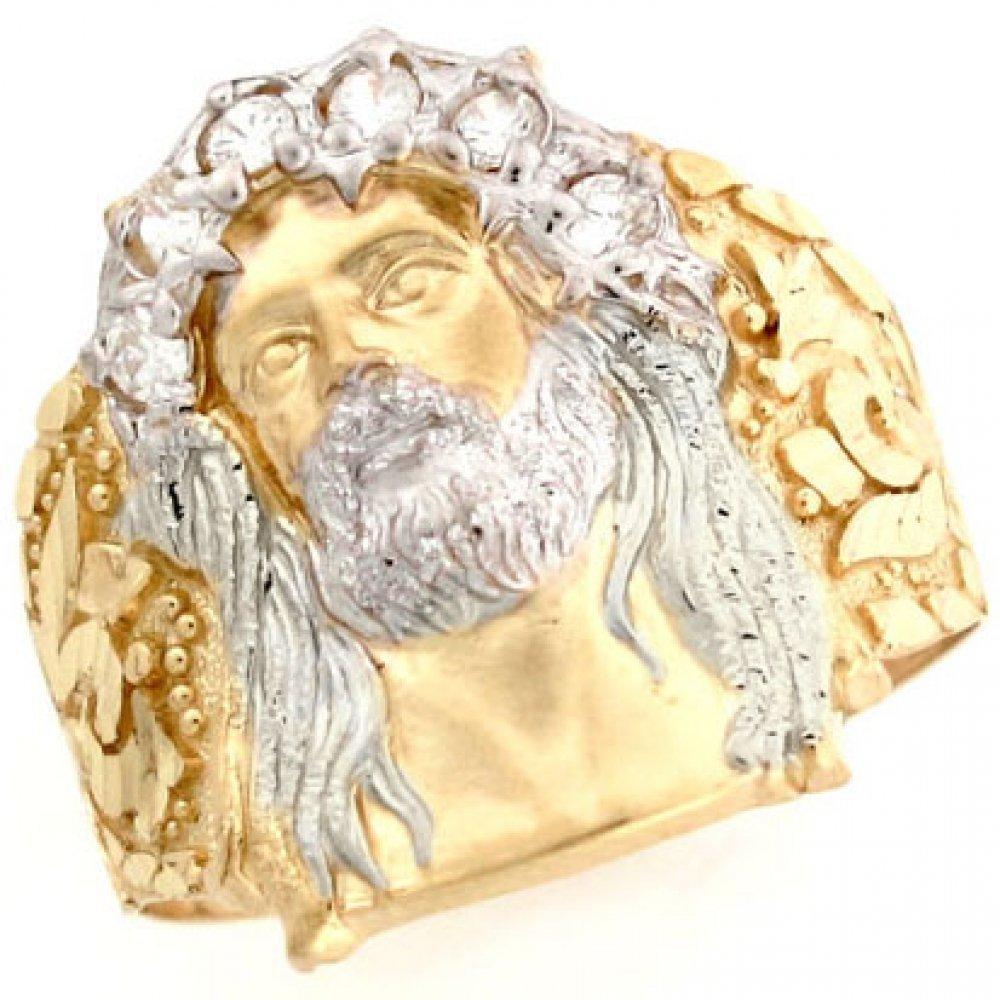 Jewelry Liquidation 10k Two Tone Gold White CZ Jesus Religious Mens Ring