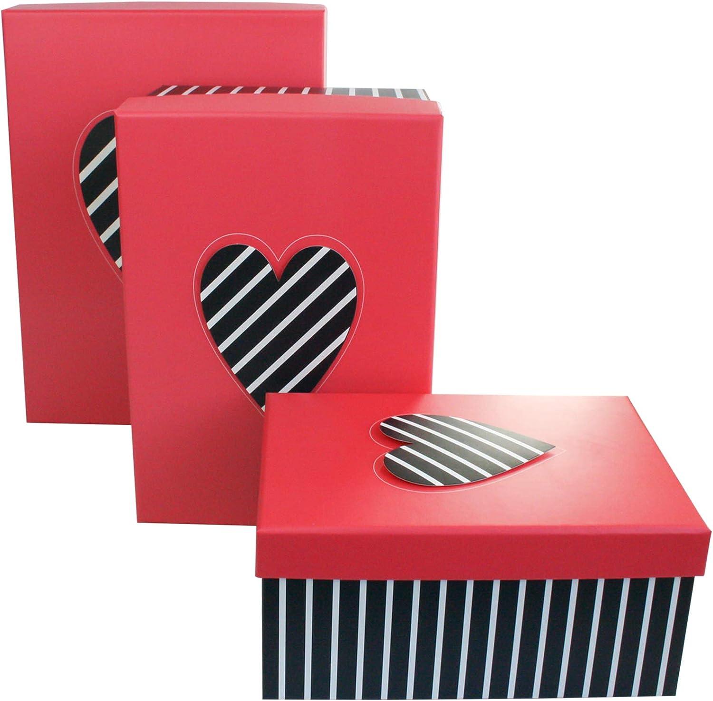 Emartbuy Set de 3 Cajas de Regalo Rígide, Caja de Rayas Negras Con Tapa Rosa, Patrón de Corazones: Amazon.es: Oficina y papelería